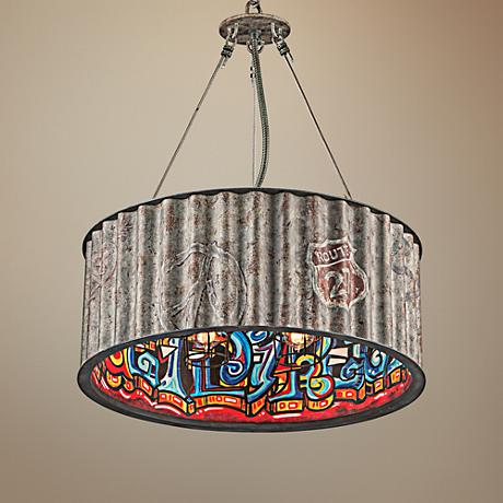 "Street Art 25"" Wide Weathered Galvanized Pendant Light"