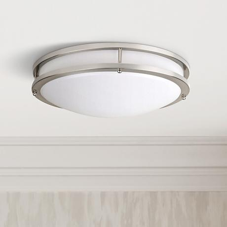 "Effie 12""W ENERGY STAR® LED Round Nickel Ceiling Light"