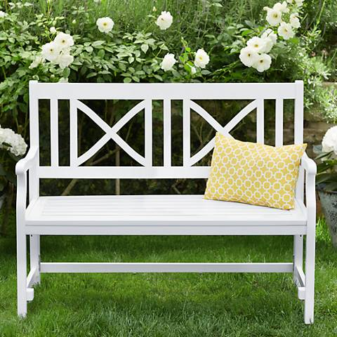 Henley White Acacia Wood Outdoor Folding Bench