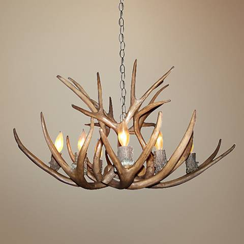"Antler 28-30""W Reproduction Mule Deer 8-Light Chandelier"