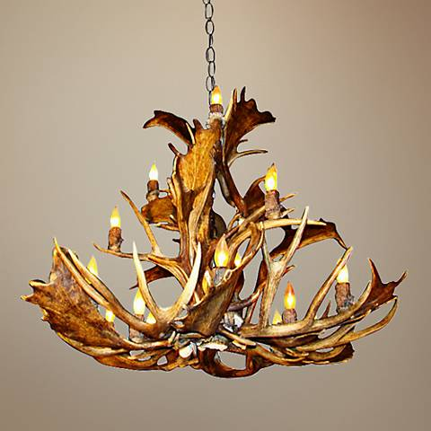 "Antler 36-38""W Natural-Shed Variety 15-Light Chandelier"