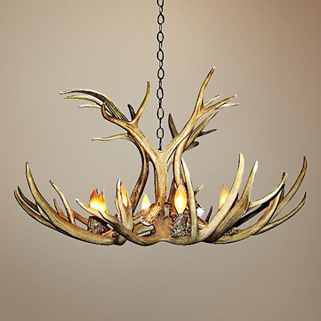 "Antler 27-29""W Natural-Shed Mule Deer 6-Light Chandelier"