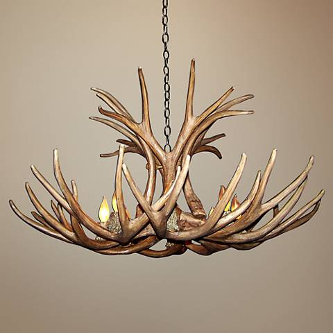 "Antler 27-29""W Reproduction Mule Deer 6-Light Chandelier"