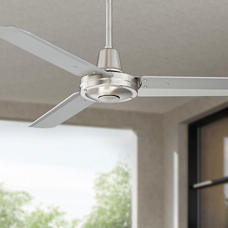 "44"" Plaza™ Brushed Steel Damp Rated Ceiling Fan"