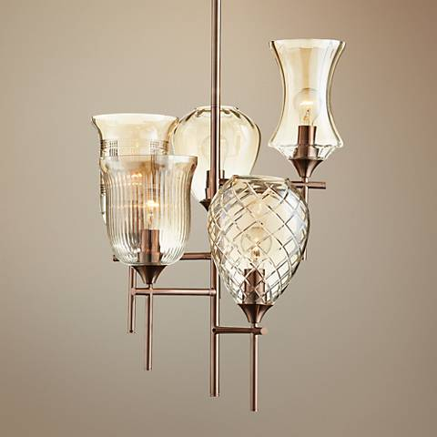 "Darcy 19""W 5-Light Multi-Lantern Cognac Glass Chandelier"