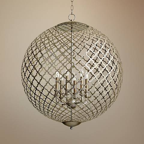 "Skyros 30"" Wide Chain-Link Orb Silver Leaf Pendant Light"