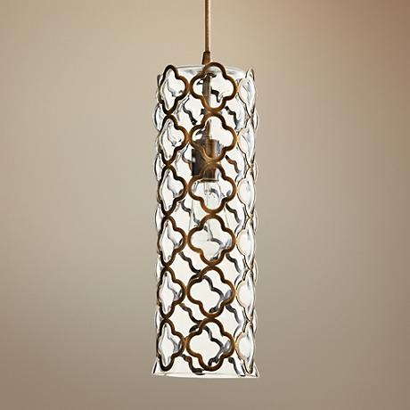 "Corsica Large Satin Brass 5 1/2"" W Cylinder Glass Pendant"