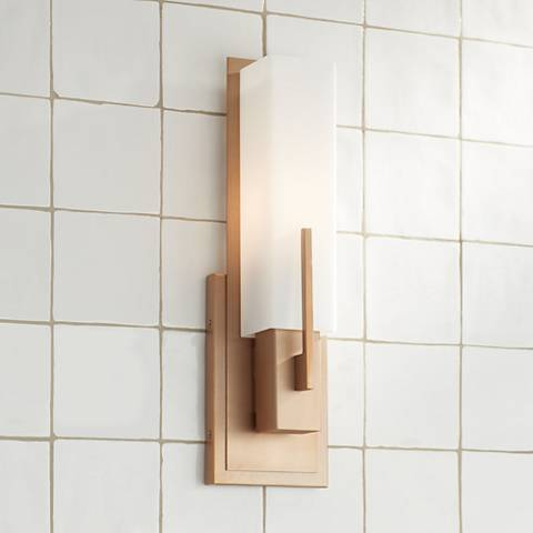 "Midtown 15"" High White Glass Burnished Brass Wall Sconce"