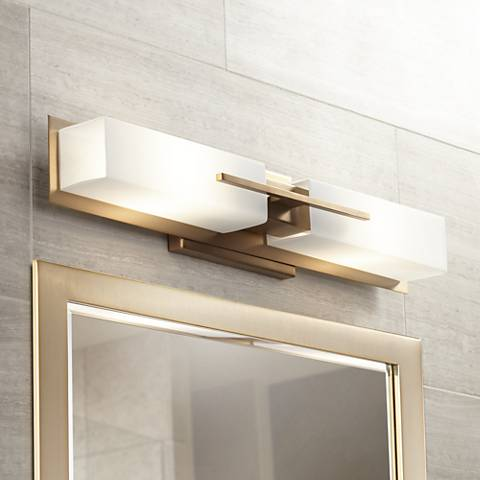 "Possini Euro Midtown 23 1/2""W Burnished Brass Bath Light"