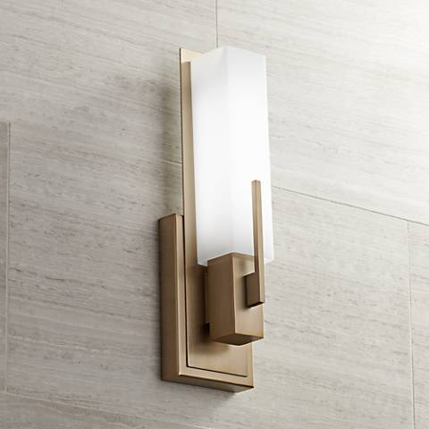 "Possini Euro Midtown 15""H Burnished Brass LED Wall Sconce"