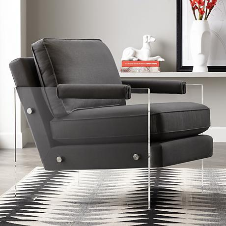 Serena Floating Gray Linen Cushioned Lucite Armchair