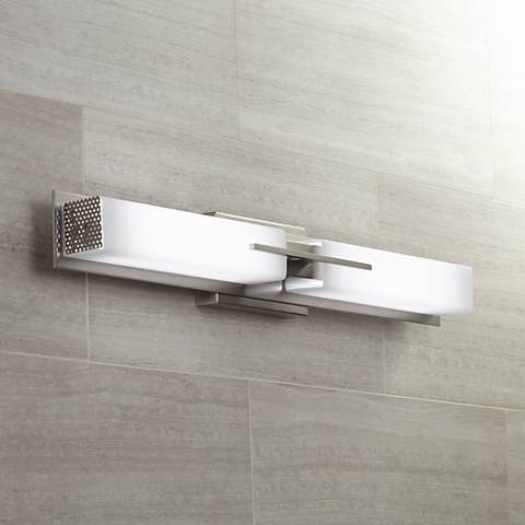 "Possini Euro Midtown 31 1/2"" Wide Nickel LED Bath Light"