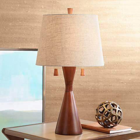 Omar warm brown hourglass table lamp 8y238 lamps plus for Brown table lamp shades