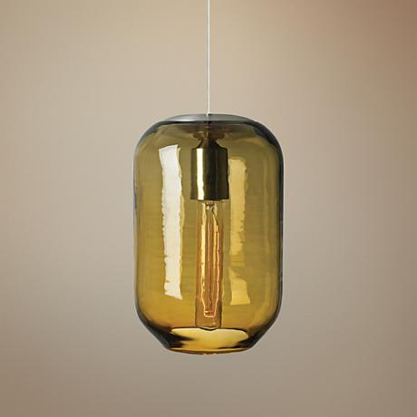 "LBL Mason 6 3/4"" Wide Amber Glass Satin Nickel Mini Pendant"