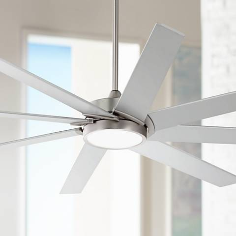 "65"" Destination® Possini Brushed Steel LED Ceiling Fan"