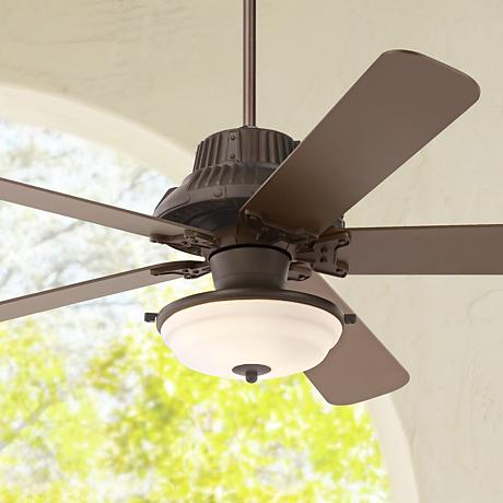 60 Industrial Forge Frosted Glass Outdoor Ceiling Fan