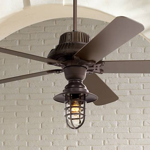 "60"" Industrial Forge™ Marlowe Cage Outdoor Ceiling Fan"