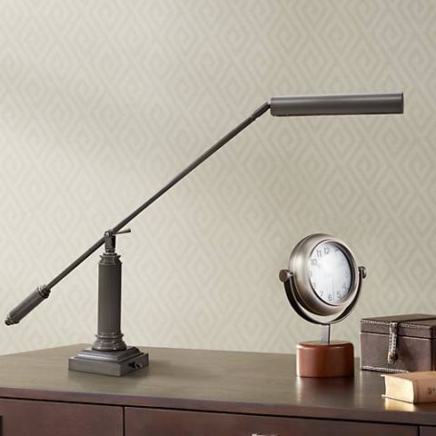 "House of Troy Mahogany Bronze 26"" High Grand Piano Desk Lamp"