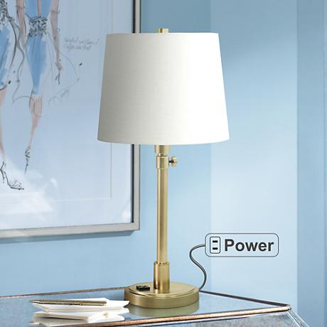 House of Troy Townhouse Brass Desk Lamp with Outlet