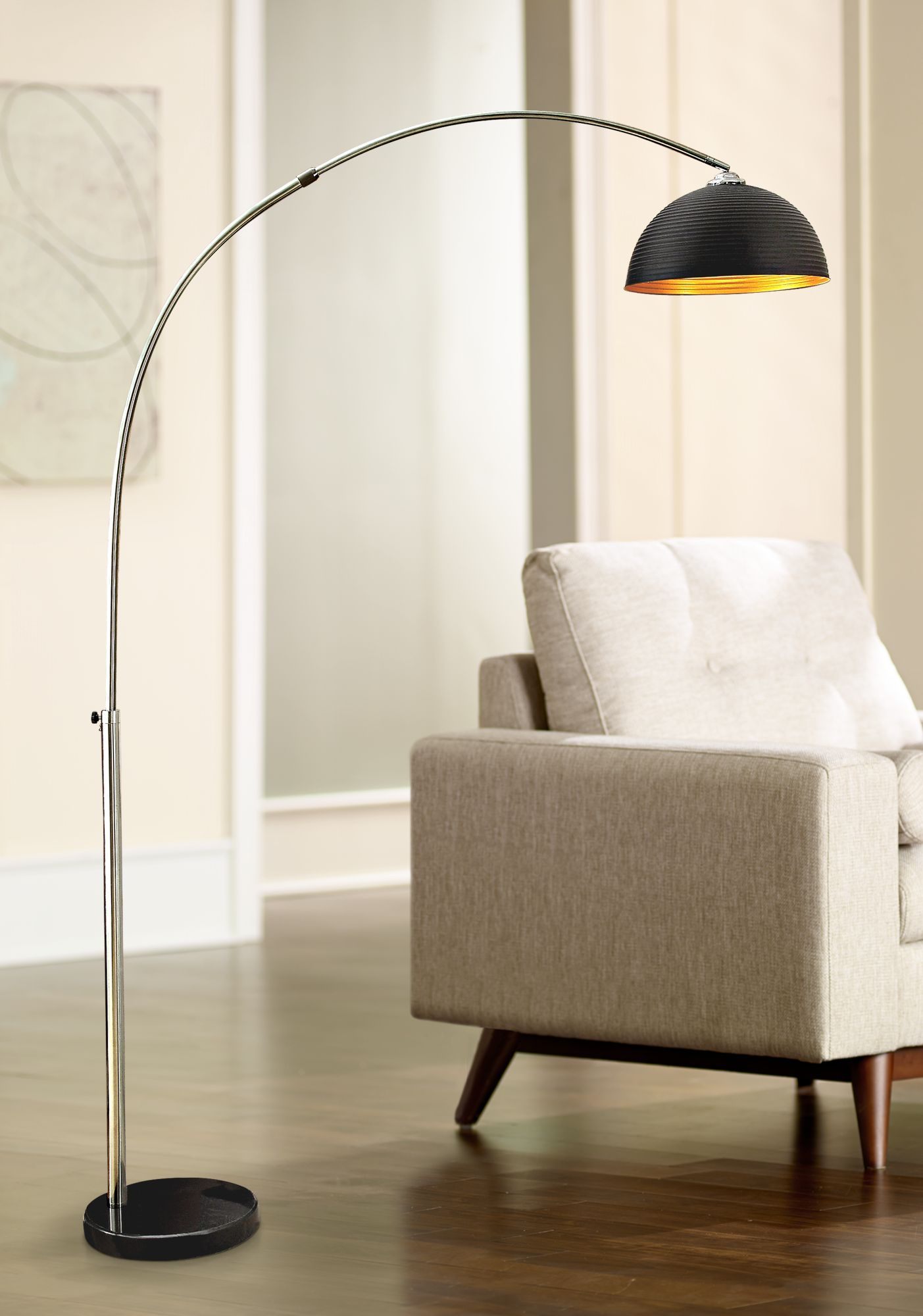 murrillo matte black sand chrome arc floor lamp - Arc Floor Lamps