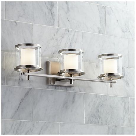 "Double-Glass 3-Light 24 1/2"" Wide Satin Nickel Bath Light"