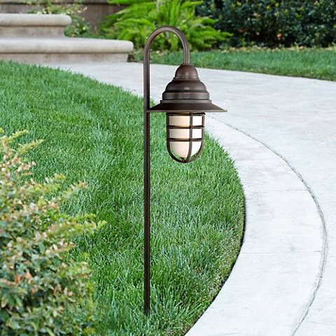 "Marlowe Bronze 32""H Hooded Shepherd's Hook LED Path Light"