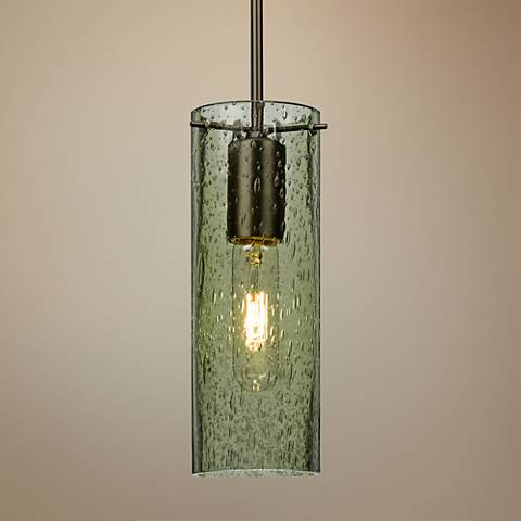 "Besa Juni 10 3 1/2"" Wide Moss Glass Bronze Mini Pendant"