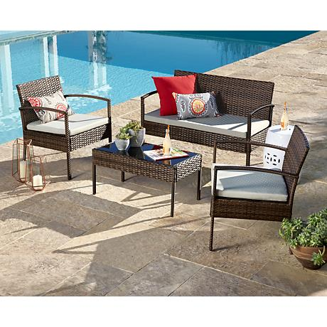 Rexford Outdoor Wicker Gray Cushion 4-Piece Patio Set