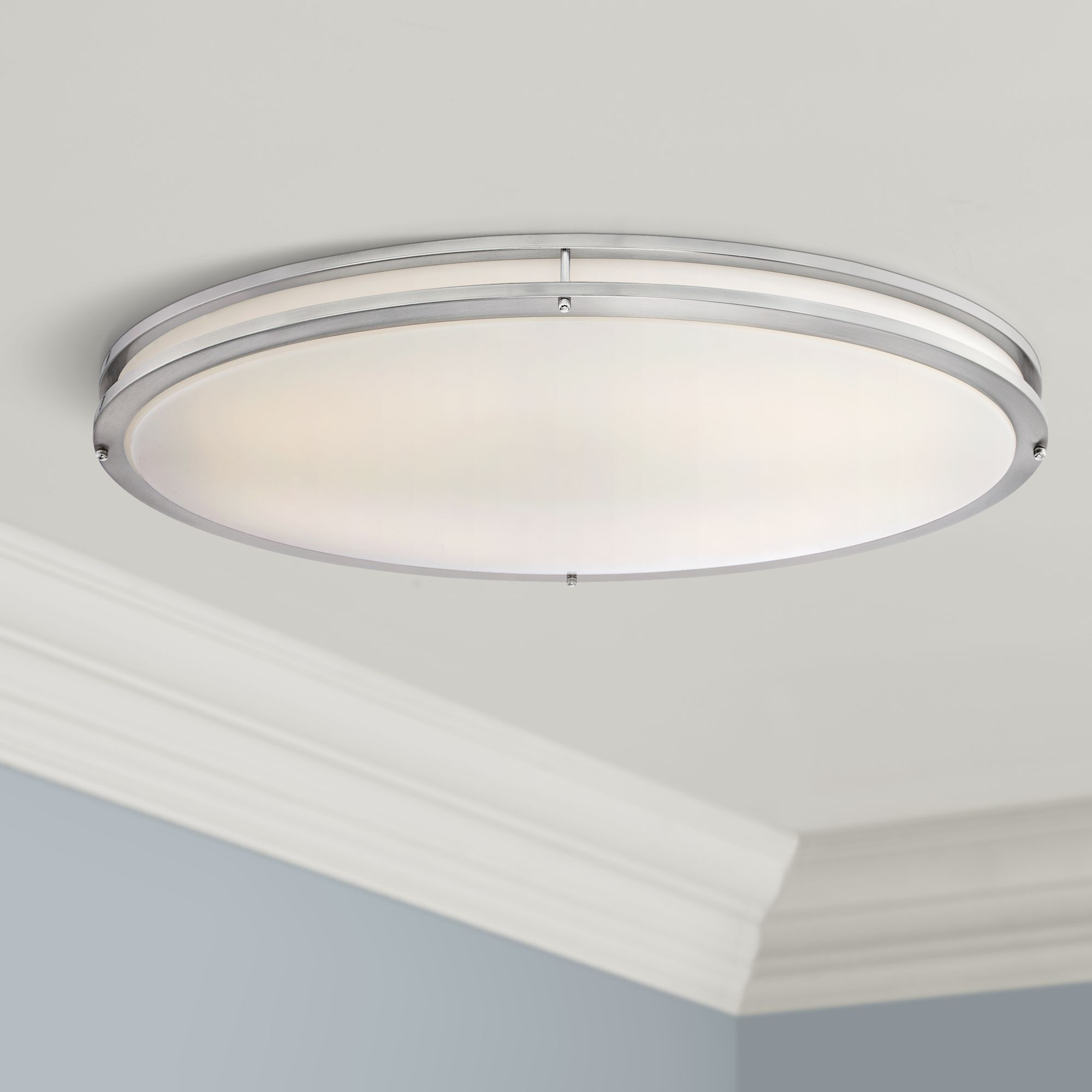 Leeds 32 1/2  Wide Satin Nickel Oval LED Ceiling Light & Close to Ceiling Light Fixtures - Decorative Lighting | Lamps Plus azcodes.com
