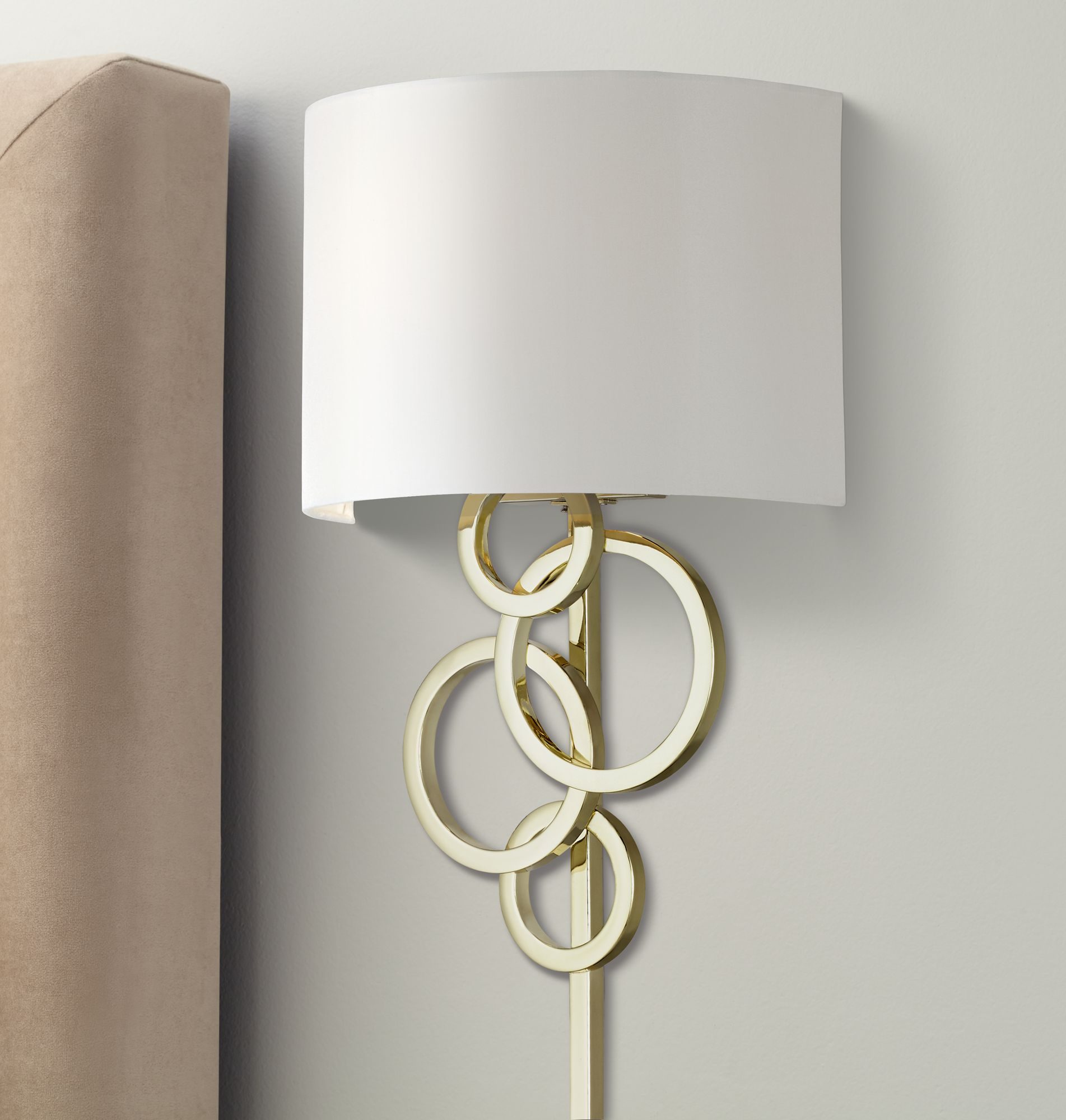 possini euro design circles polished brass plugin wall lamp