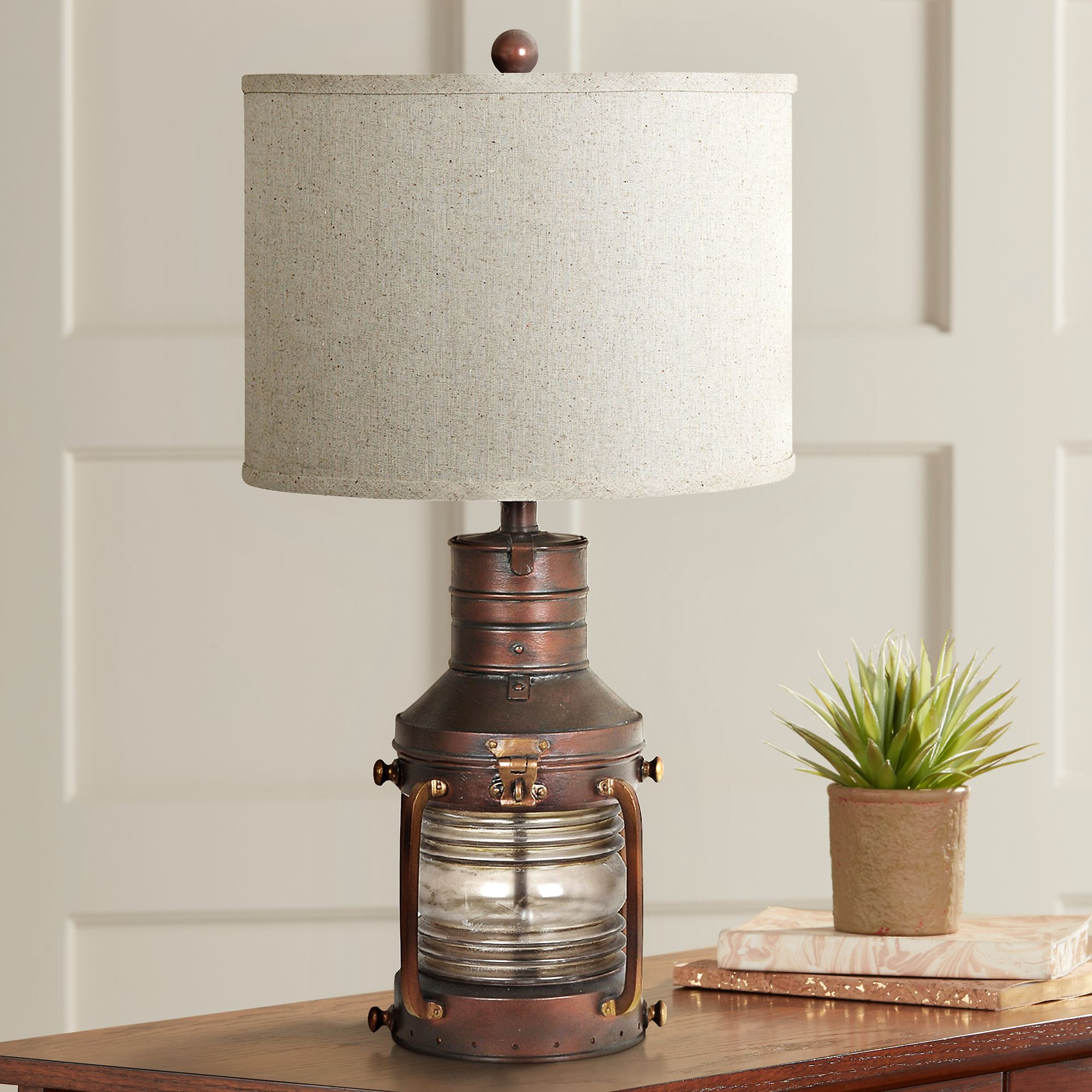 Great Crestview Rubbed Copper Lantern Table Lamp And Nightlight