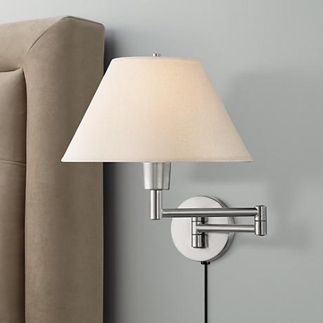 Lite Source Steel Empire Shade Plug-In Swing Arm Wall Lamp