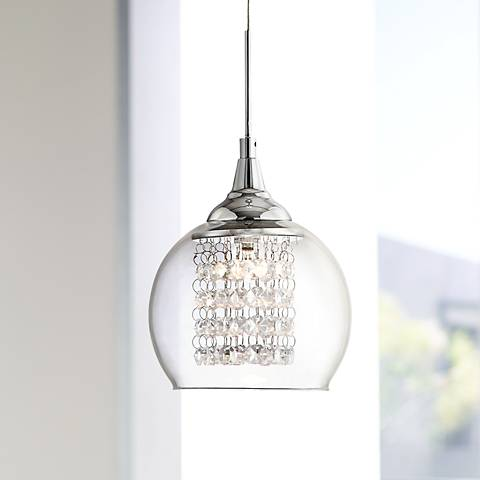 "Possini Euro Encircled Crystal 6"" Wide Halogen Mini Pendant"
