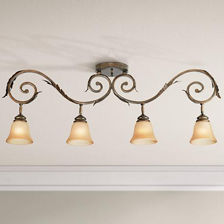 Pro Track Bronze Scroll 4 Light Amber Glass Track Fixture