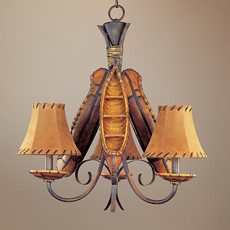 Grand Old River Canoe Three Light Chandelier
