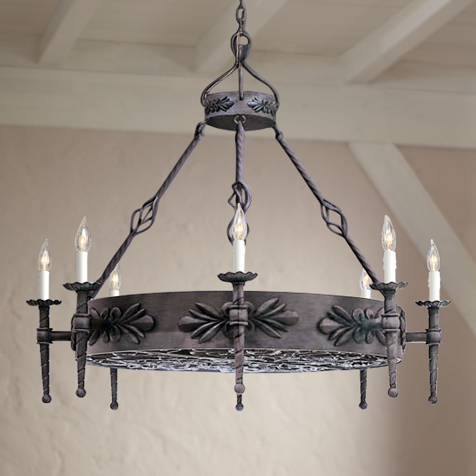 alhambra collection round large wrought iron chandelier - Wrought Iron Chandelier