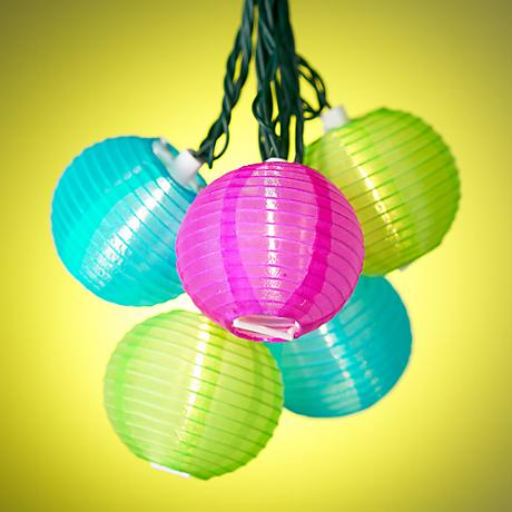 Blue Lantern String Lights : Light Blue, Pink and Green Lantern String Party Lights - #92197 www.lampsplus.com