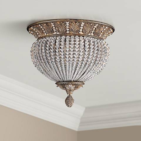 "Crystorama Roosevelt 13 1/2"" Wide Crystal Bead Ceiling Light"
