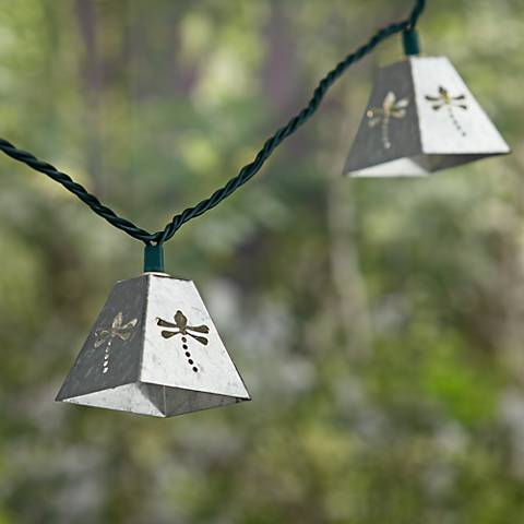 Silver Dragonfly Lantern String Party Lights