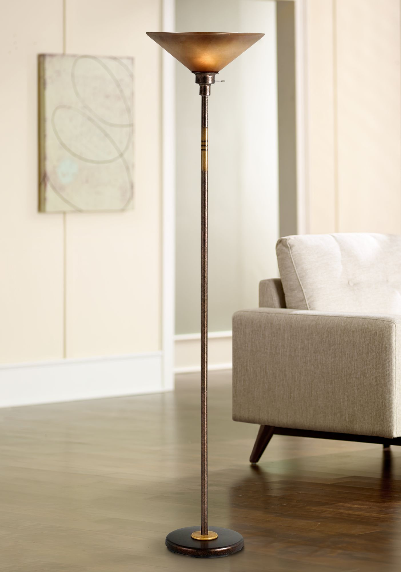 soho collection rust finish torchiere floor lamp