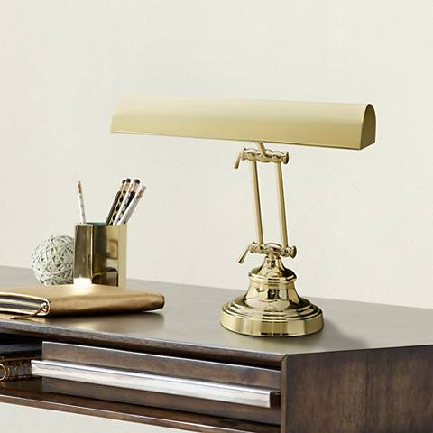 Round Base Piano Lamp in Solid Brass