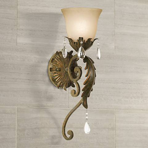 "Valentina Collection 19 1/2"" High Iron Leaf Wall Sconce"