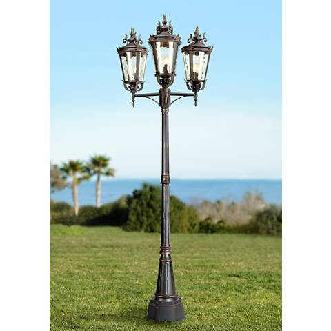 "Casa Marseille™ 100"" High Bronze Outdoor 3-Arm Post Light"