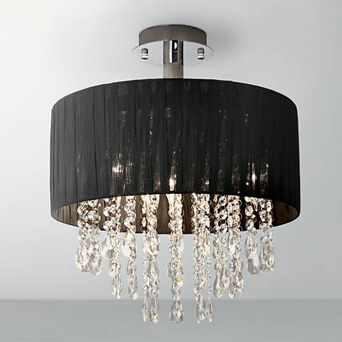 Possini Euro Design Jolie Black and Crystal Ceiling Light