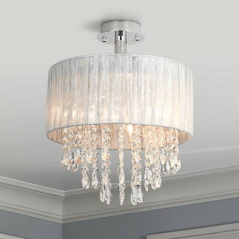 Possini euro jolie 15 wide silver and crystal ceiling for Possini lighting website