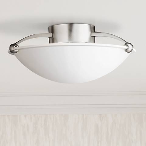"Contemporary Brushed Steel 15"" Wide Ceiling Light Fixture"