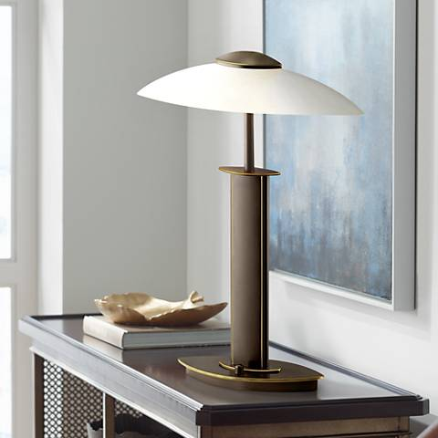 Holtkoetter Old Bronze and Satin White Glass Lamp