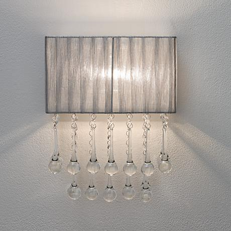 "Possini Euro Design Silver and Crystal 14"" High Wall Sconce"