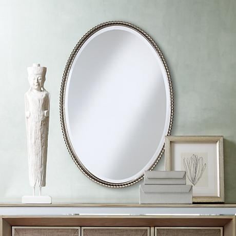 "Uttermost Brushed Nickel Sherise Oval 32 "" High Wall Mirror"