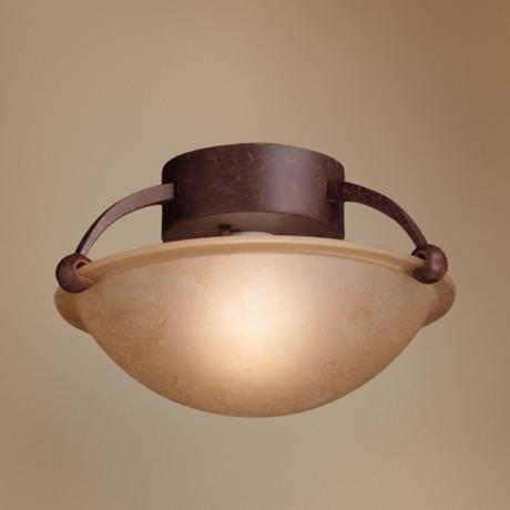 "Amber Glass 12"" Wide Ceiling Light Fixture"